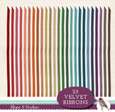 25 Digital Velvet Ribbons in Rainbow Colors