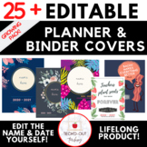25 EDITABLE Planner & Binder Covers - Florals & Foods Theme Pack