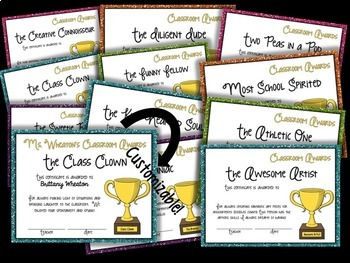 Editable Classroom Awards for Middle and High School Students: 28 Included