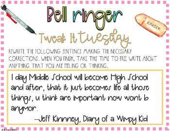 25 English, Grammar, and Writing Bell Ringers: Volume 7, Middle and High School