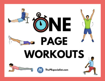 25 Exercise Station Signs + 10 One Page Workouts |Exercise Poster Bundle|