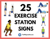 25 Exercise Station Signs + 10 One Page Workouts |Exercise