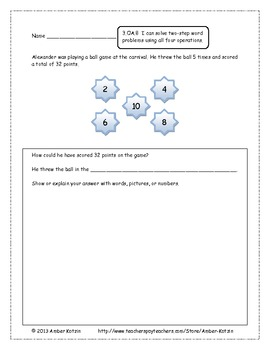 25 Extended Response Math Word Problems for Operations and Algebraic Thinking