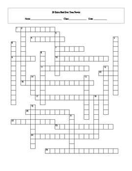 25 Extra Best Ever Teen Novels Crossword Worksheet and Key