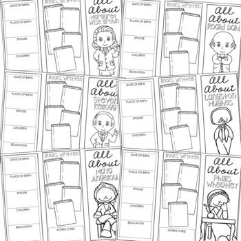 25 Famous Authors Brochure Projects, Mini Book, Foldables, Novels