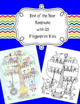 25 Fingerprint Kids End of the Year and Autograph Memory Page