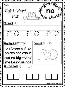 25 Fountas and Pinnell Kindergarten Sight Word Worksheets ...