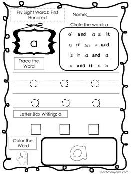 25 Fry First Hundred Word List 1 Worksheets.  Printable Preschool Worksheets.