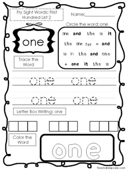 25 Fry First Hundred Word List 2 Worksheets.  Printable Preschool Worksheets.
