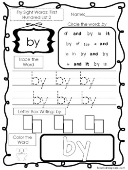 25 Fry First Hundred Word List 2 Worksheets.  Printable Preschool Worksheets.