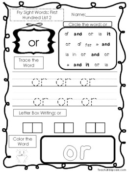 25 Fry First Hundred Word List 2 Worksheets.  Printable Pr