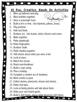 25 Fun, Creative, Hands on Activities!
