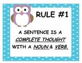 25 Grammar Rules - Owl Theme