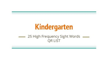25 High Frequency Sight Words for Kindergarten