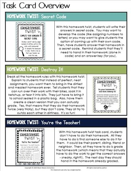 Homework Twist Task Cards:  25 Fun Tasks to Make Homework More Fun!