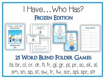 25 I Have Who Has FROZEN Princess Folder Games - CONSONANT BLENDS