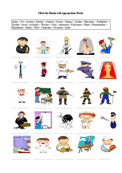 25 Jobs - Occupations A Worksheet