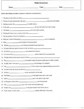 25 Key Term Plains Ecosystems Fill in Worksheet with Answer Key