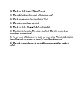 25 Mesopotamia Journal Topic Questions for Middle School Social Studies Unit