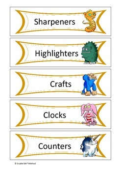25 Monster themed classroom labels