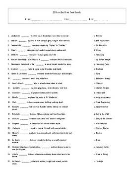 25 More Best Ever Teen Novels Mix and Match Worksheet and Key