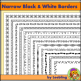 25 Narrow Black and White Borders / Frames - US Letter format