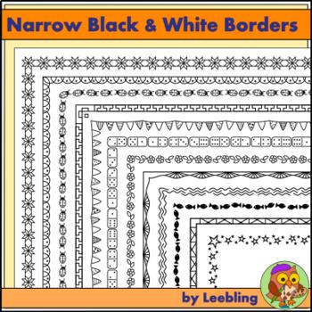 25 Narrow Black and White Borders / Frames - US Letter format