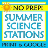 THREE End of Year Summer Science Activity Worksheet Stations
