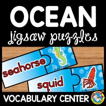 VOCABULARY PUZZLES: OCEAN PUZZLES: SEA LIFE CREATURES JIGS