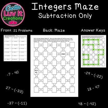 Integers: Subtraction -  2 Mazes