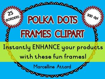 POLKA DOTS FRAMES: DOODLE BORDERS: POLKA DOTS CLIPART BORDERS: OVAL FRAMES