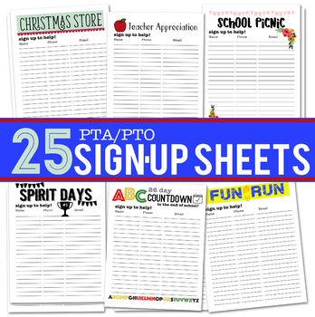 25 pta pto activity sign up sheets by katie hill tpt