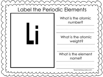 25 Periodic Elements Labeling Worksheets. Preschool-2nd Grade. Tracing.