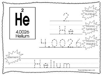 30 Periodic Elements Tracing Worksheets. Preschool-2nd Grade. Tracing.