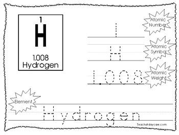 30 Periodic Elements Tracing Worksheets. Preschool-2nd Gra