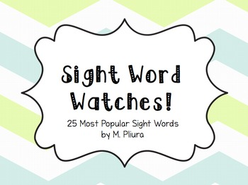 25 Popcorn Word Watches - Kindergarten Sight Words