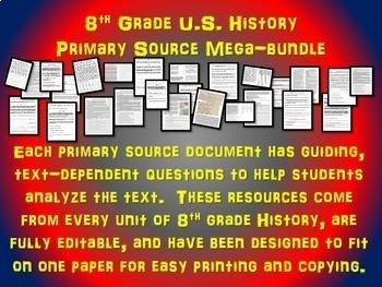 25 Primary Sources for 8th grade U.S. History (Massive Bundle)