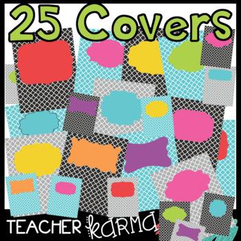 25 Product Covers / Design Templates * Quatrefoil & Neon Frame