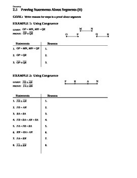 2.5 Proving Statements About Segments (B)