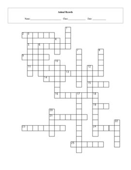 25 Question Animal Records Crossword Puzzle With Key