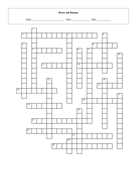 25 Question Beezus and Ramona Crossword with Key