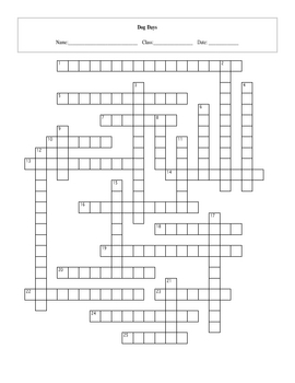 25 Question Dog Days Crossword with Key