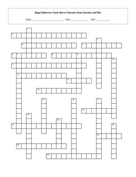 25 Question Halloween Characters in Literature and Film Crossword
