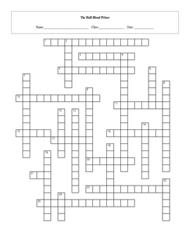 25 Question Harry Potter Half-Blood Prince Crossword with Key