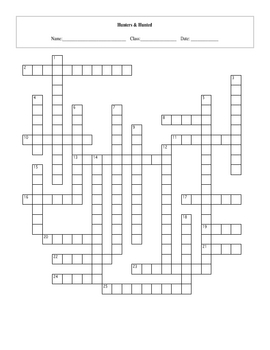 25 Question Hunters and Hunted Crossword with Key