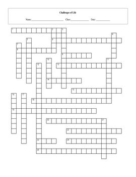 25 Question Life: Challenges of Life Crossword with Key