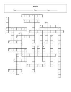 25 Question Life: Mammals Crossword with Key