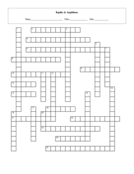 25 Question Life: Reptiles & Amphibians Crossword with Key