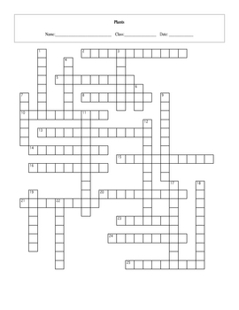 25 Question Plants Crossword with Key