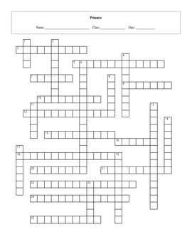 25 Question Primates Crossword with Key